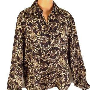 LIZ BAKER womens 16 Button Up Blouse Long Sleeve